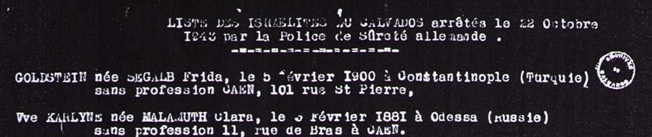 Les Juifs du Calvados victimes de la rafle du 22 octobre 1943